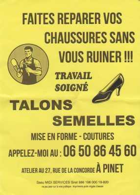 Cordonnerie de PINET ---- 27 Rue de la Concorde 06.50.86.45.60 mail: william.cagna@orange.fr