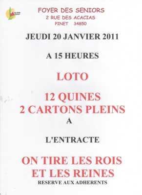 Le LOTO du 20 Janvier 2011 15 Heures