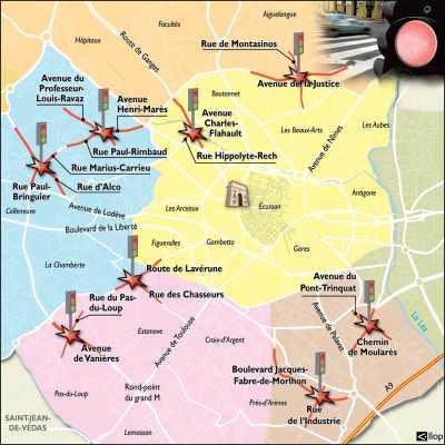 Nouveaux radars  aux feux rouges  de Montpellier