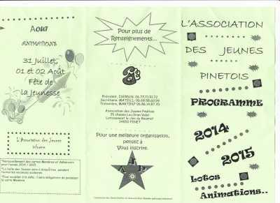 Association des Jeunes PINETOIS Programme