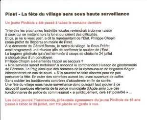 PINET  suite des bagarres du 24 JUILLET 2010 ---- extrait du Midi Libre