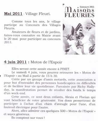 Mai 2011 : Pinet Village fleuri 4 Juin 2011 : Motos de l'Espoir