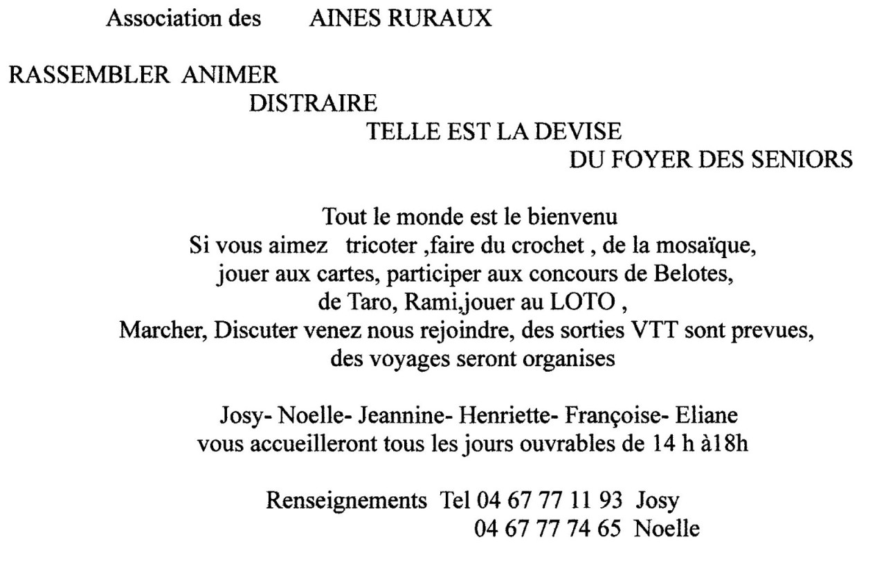 Messages de l'Association des AINES RURAUX