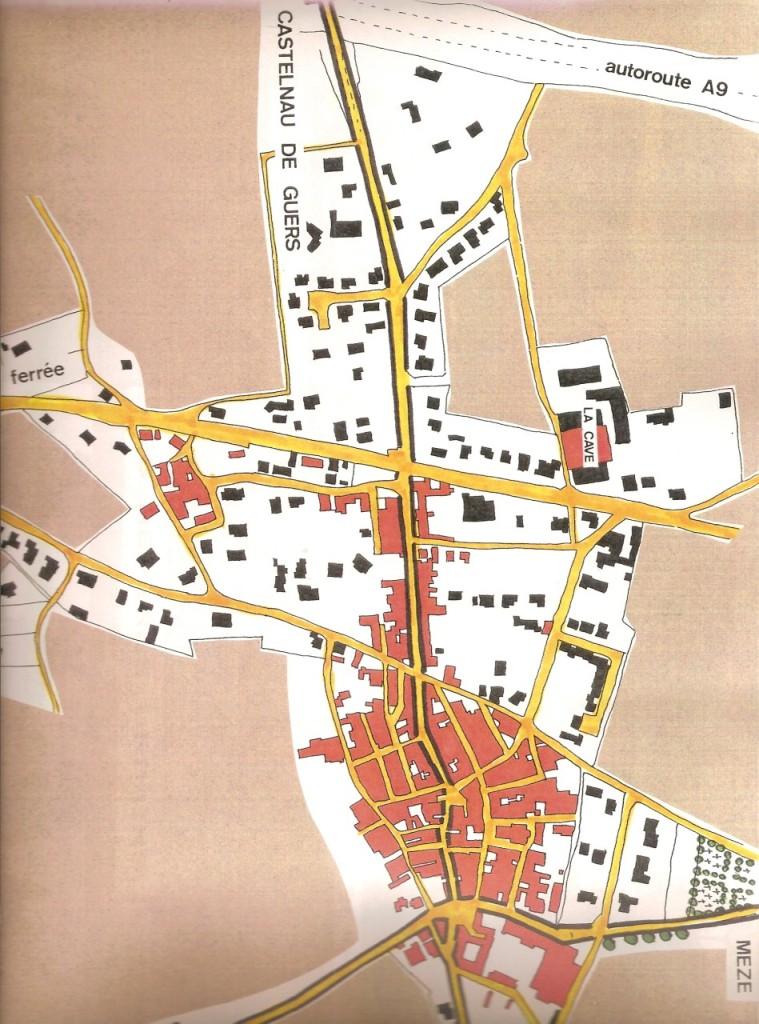 en rouge : maisons existantes en 1934 en noir : construction depuis 1935