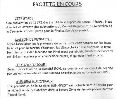 Journal de la Mairie ---- Projets en Cours