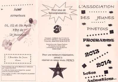ASSOCIATION des JEUNES PINETOIS Planning 2013/2014