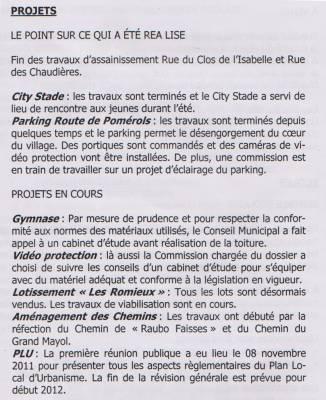 Photo-titre pour cet album: Extraits du Journal de la Mairie  Janvier 2012