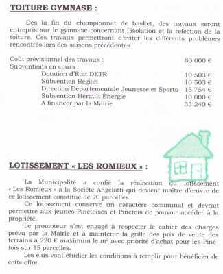 """La toiture du Gymnase le nouveau lotissement """"les Romieux"""""""