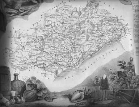 Carte de l'HERAULT sous NAPOLEON  vers 1805