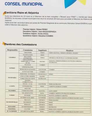 Election du Maire de ses adjoints des membres des Commissions